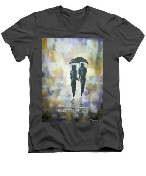 Walk In The Rain #3 Men's V-Neck T-Shirt by Raymond Doward