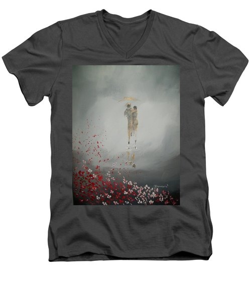Walk In The Storm Men's V-Neck T-Shirt by Raymond Doward
