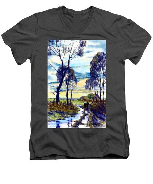 Walk On A Wet Road Men's V-Neck T-Shirt