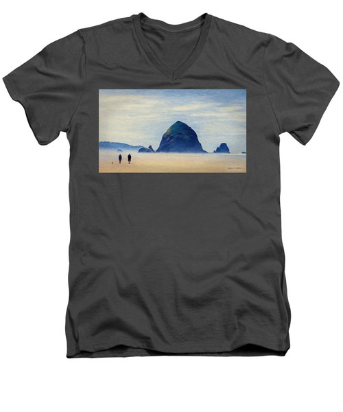 Men's V-Neck T-Shirt featuring the painting Walk On The Beach by Jeff Kolker
