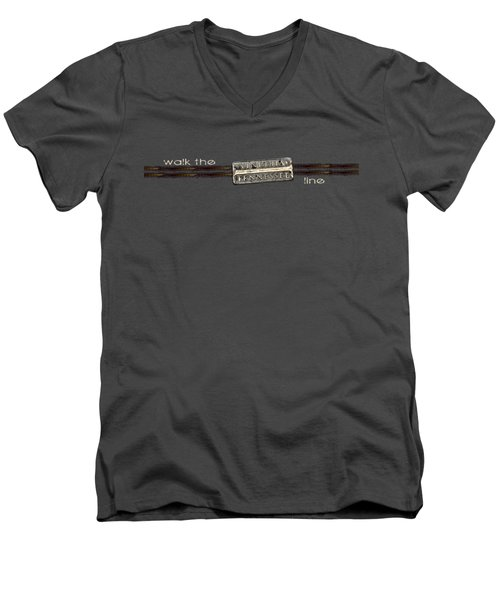 Walk The Line Light Lettering Men's V-Neck T-Shirt by Heather Applegate