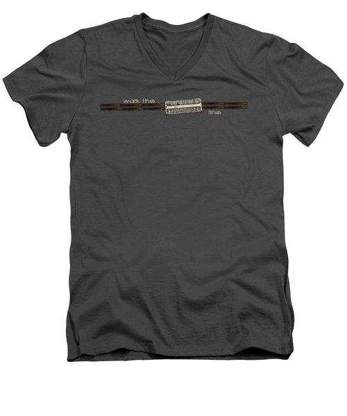 Walk The Line Light Lettering Men's V-Neck T-Shirt