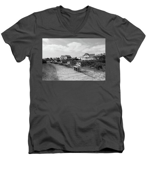 Walk Through The Dunes In Black And White Men's V-Neck T-Shirt