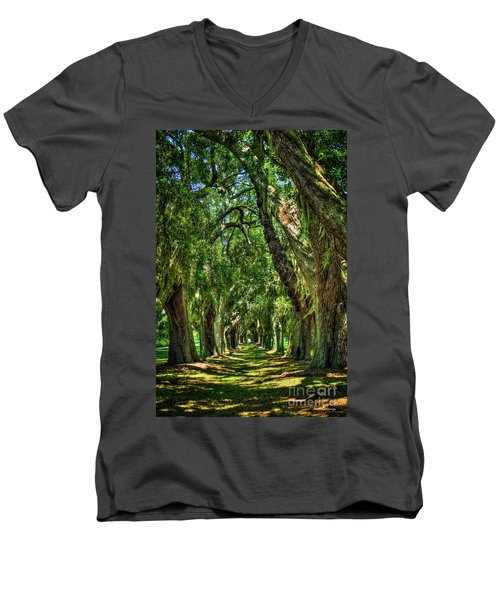 Men's V-Neck T-Shirt featuring the photograph Walk With Me Avenue Of Oaks St Simons Island Art by Reid Callaway