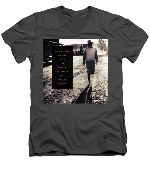 Walked Into The Sunset But Not Out Of Our Heart.  Men's V-Neck T-Shirt by Michele Carter
