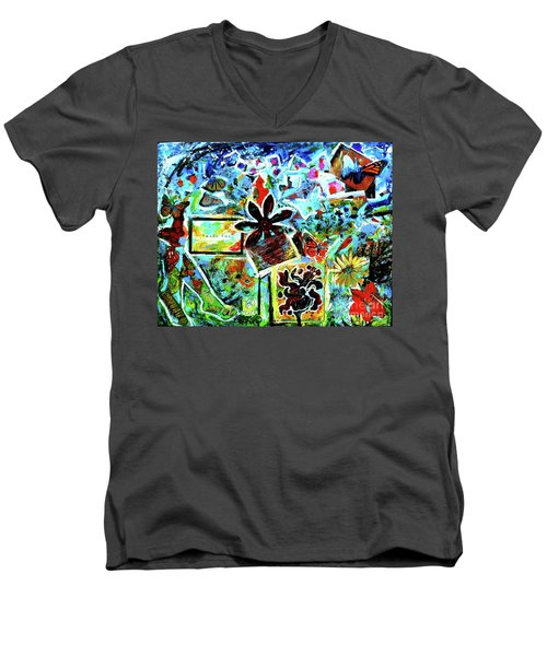 Men's V-Neck T-Shirt featuring the mixed media Walking Amongst The Monarchs by Genevieve Esson