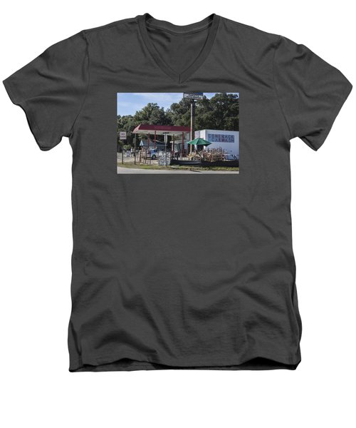 Walking Canes And Staffs At The Comeback Carwash Men's V-Neck T-Shirt by Suzanne Gaff
