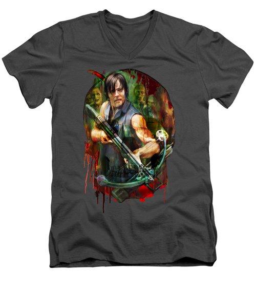 Walking Dead Mask Men's V-Neck T-Shirt