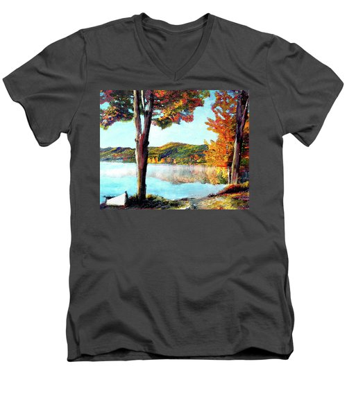 Walking Down Lake Champlain Men's V-Neck T-Shirt