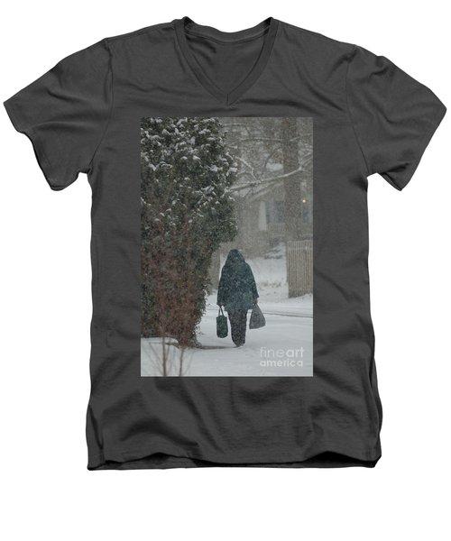 Walking Home In The Snow Men's V-Neck T-Shirt