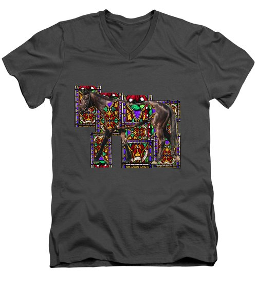 Walking Horse Men's V-Neck T-Shirt by Tom Conway