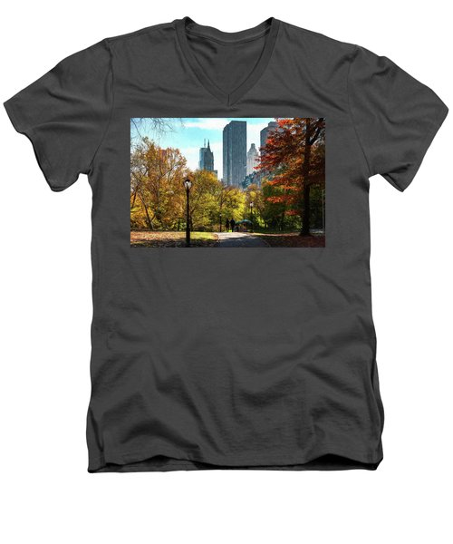 Walking In Central Park Men's V-Neck T-Shirt