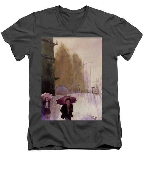 Men's V-Neck T-Shirt featuring the painting Walking In The Rain by Dan Wagner