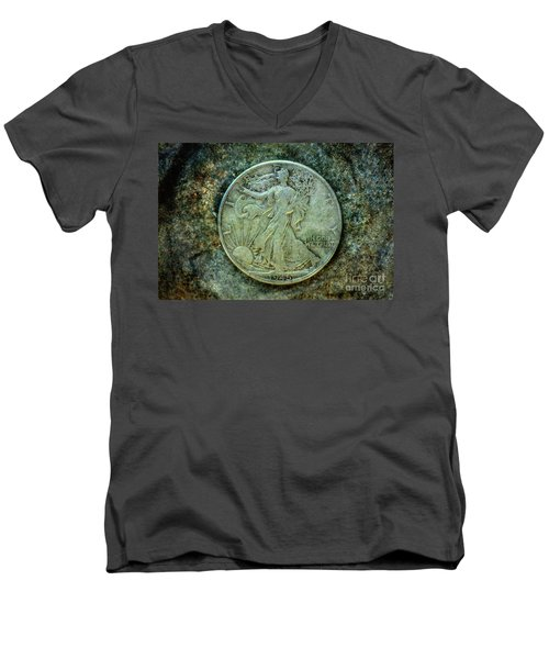 Walking Liberty Half Dollar Obverse Men's V-Neck T-Shirt