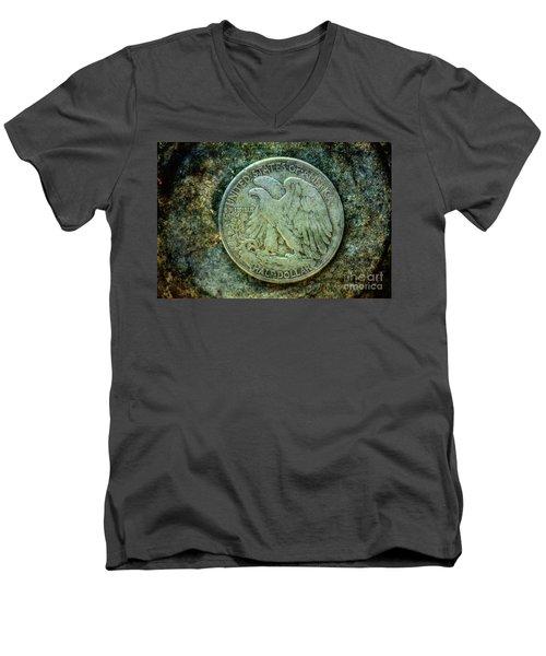 Walking Liberty Half Dollar Reverse Men's V-Neck T-Shirt