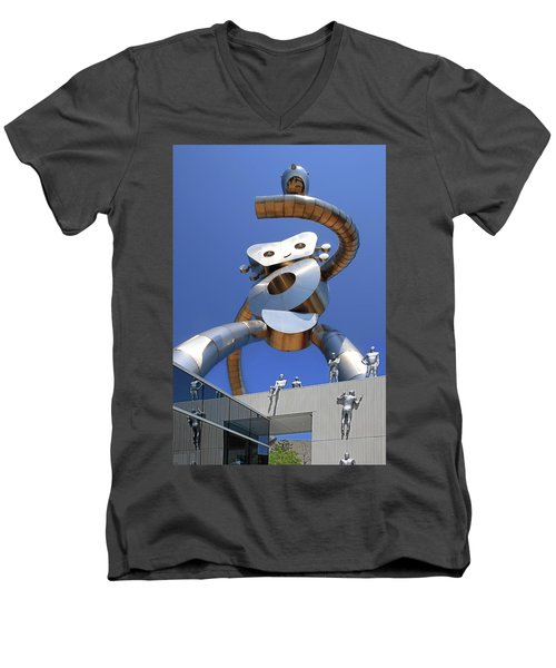 Men's V-Neck T-Shirt featuring the photograph Walking Tall Path by Christopher McKenzie