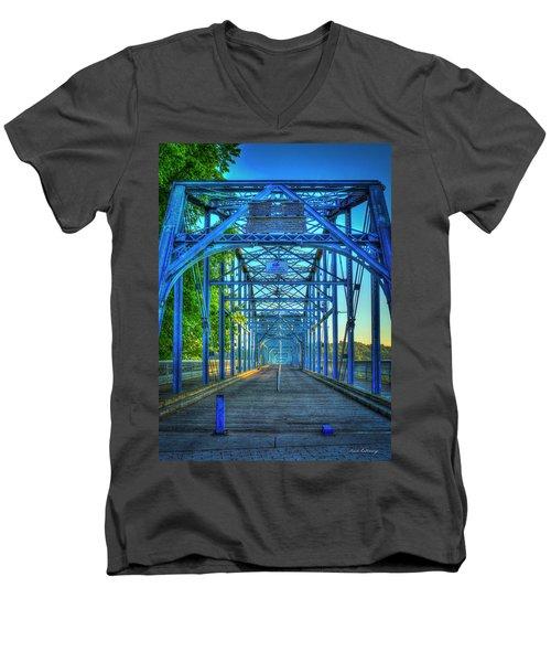 Walking Tall Walnut Street Pedestrian Bridge Art Chattanooga Tennessee Men's V-Neck T-Shirt by Reid Callaway