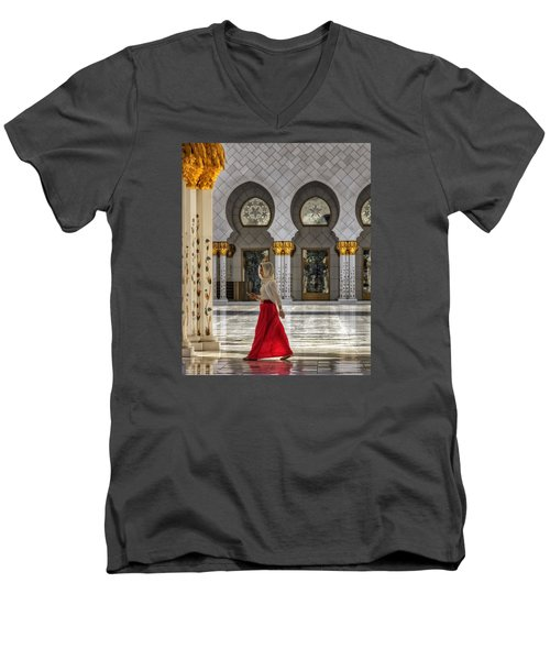 Walking Temple Men's V-Neck T-Shirt by John Swartz