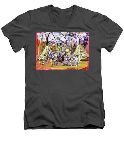 Walking The Dog 1 Men's V-Neck T-Shirt by Mark Jones
