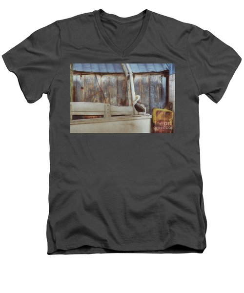 Men's V-Neck T-Shirt featuring the photograph Walking The Plank by Benanne Stiens