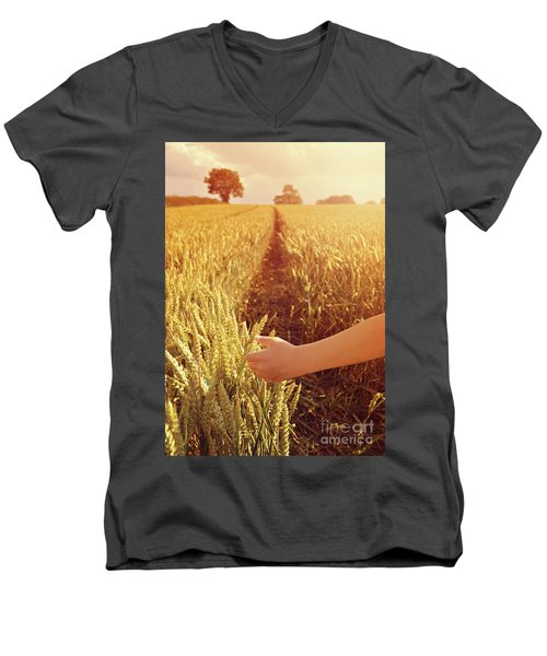 Men's V-Neck T-Shirt featuring the photograph Walking Through Wheat Field by Lyn Randle