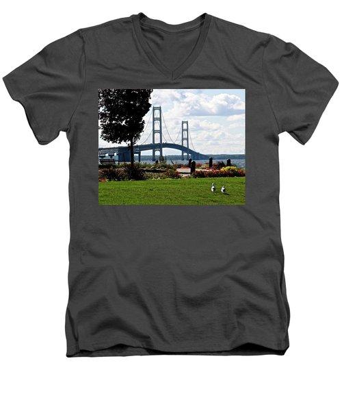 Walking To The Bridge Men's V-Neck T-Shirt