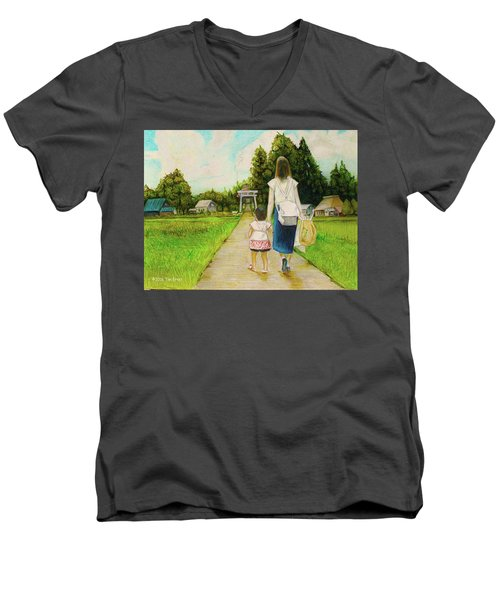 Men's V-Neck T-Shirt featuring the drawing Walking To The Shrine by Tim Ernst