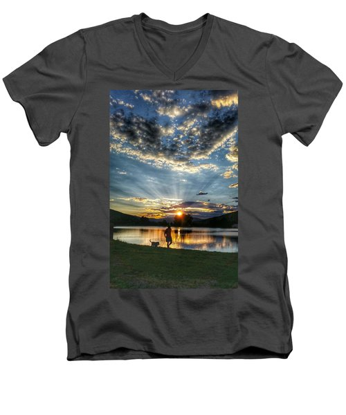 Walking With My Best Friend Men's V-Neck T-Shirt