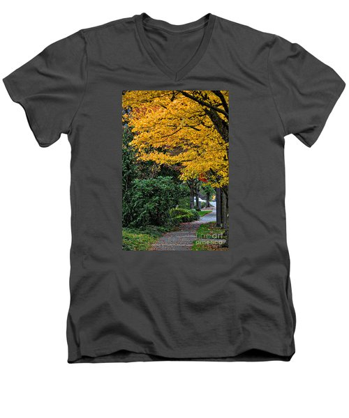 Walkway Under A Canopy Of Yellow Men's V-Neck T-Shirt