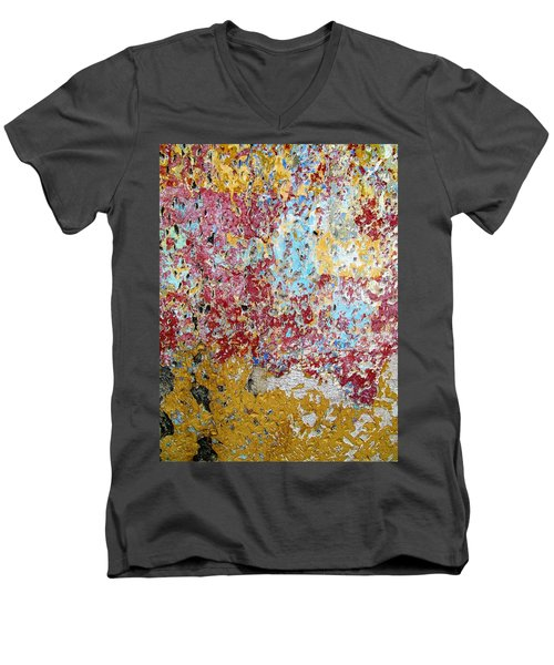 Wall Abstract 123 Men's V-Neck T-Shirt by Maria Huntley