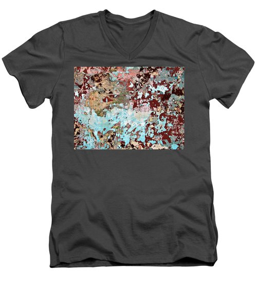 Wall Abstract 128 Men's V-Neck T-Shirt by Maria Huntley