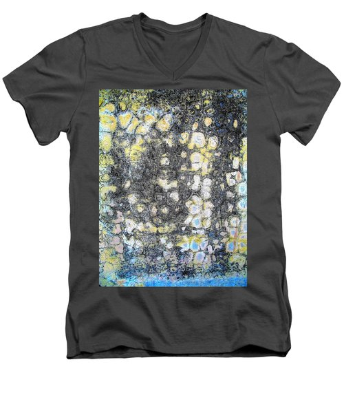 Wall Abstract 162 Men's V-Neck T-Shirt by Maria Huntley