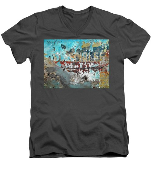 Wall Abstract 98 Men's V-Neck T-Shirt by Maria Huntley