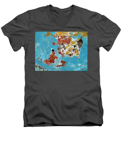 Wall Abstract 99 Men's V-Neck T-Shirt by Maria Huntley