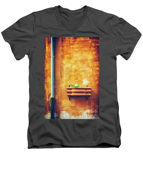Men's V-Neck T-Shirt featuring the photograph Wall Gutter Vase by Silvia Ganora