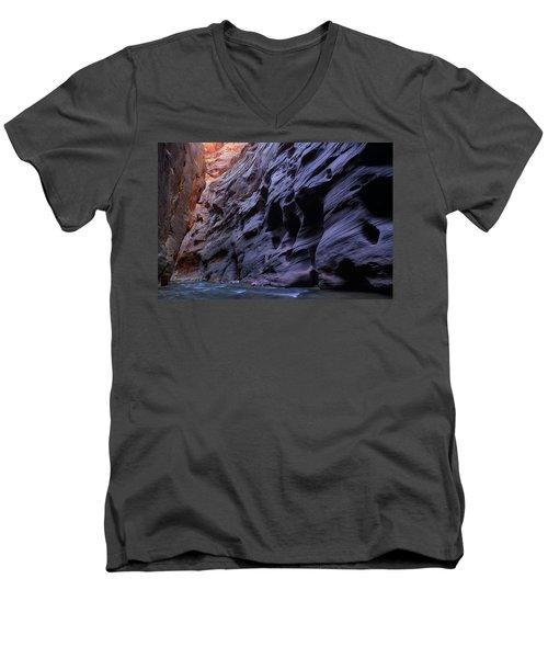 Wall Street At The Narrows At Zion National Park Men's V-Neck T-Shirt
