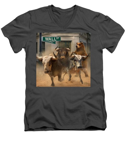 Wall Street -- Bull And Bear Markets Men's V-Neck T-Shirt by Doug Kreuger