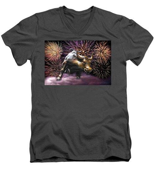 Wall Street Bull Fireworks Men's V-Neck T-Shirt