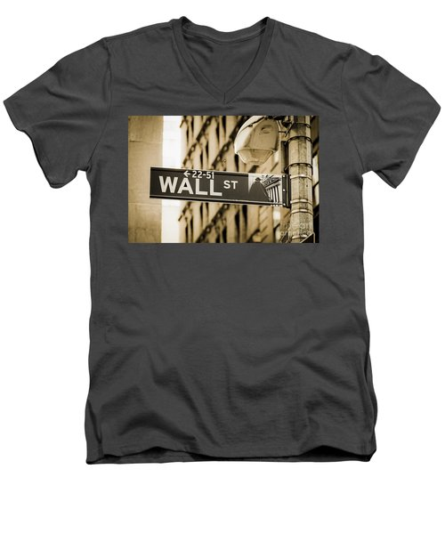 Men's V-Neck T-Shirt featuring the photograph Wall Street by Juergen Held