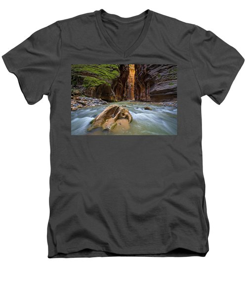 Men's V-Neck T-Shirt featuring the photograph Wall Street Of The Narrows by Wesley Aston