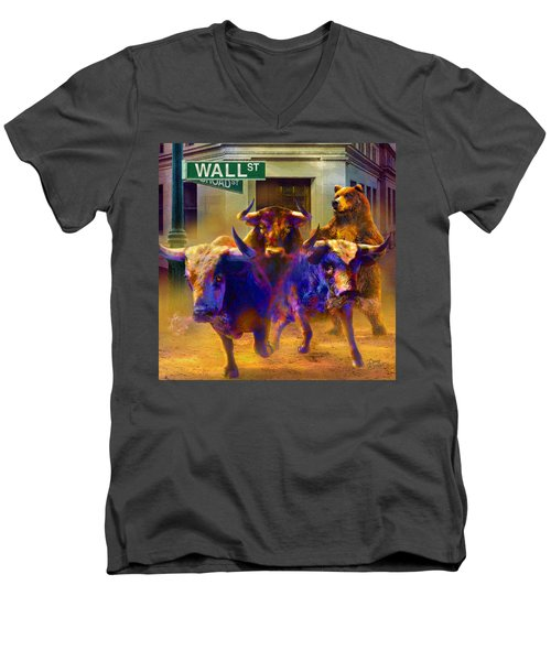 Wall Street Il Men's V-Neck T-Shirt by Doug Kreuger
