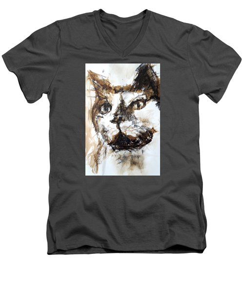 Walnut And Charcoal Men's V-Neck T-Shirt by Mary Schiros