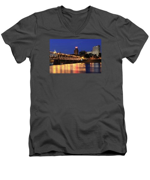 Walnut Street Bridge Men's V-Neck T-Shirt by Shelley Neff