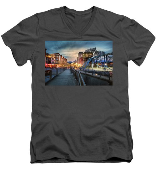 Walnut Street Circle Sunset Men's V-Neck T-Shirt