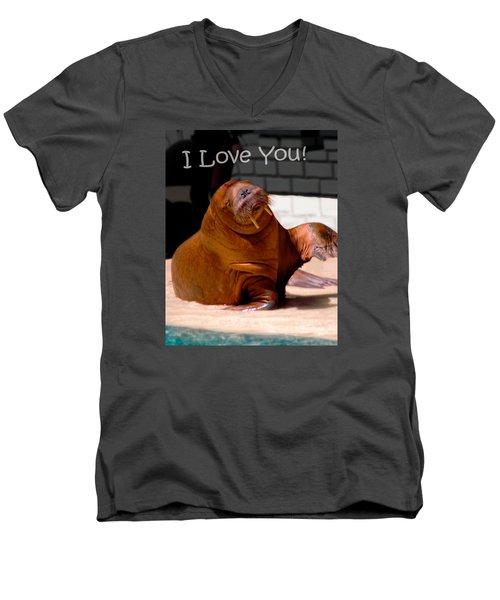 Walrus Loves You Men's V-Neck T-Shirt by Bob Pardue