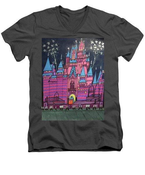 Walt Disney World Cinderrela Castle Men's V-Neck T-Shirt by Jonathon Hansen