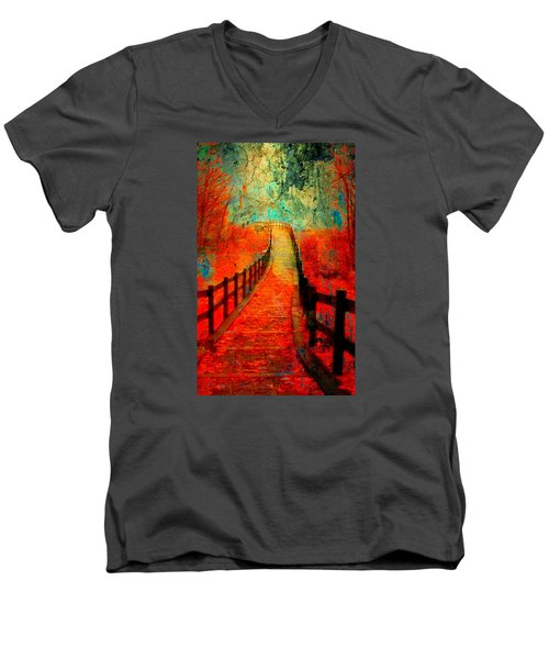 Wander Bridge Men's V-Neck T-Shirt by Greg Sharpe