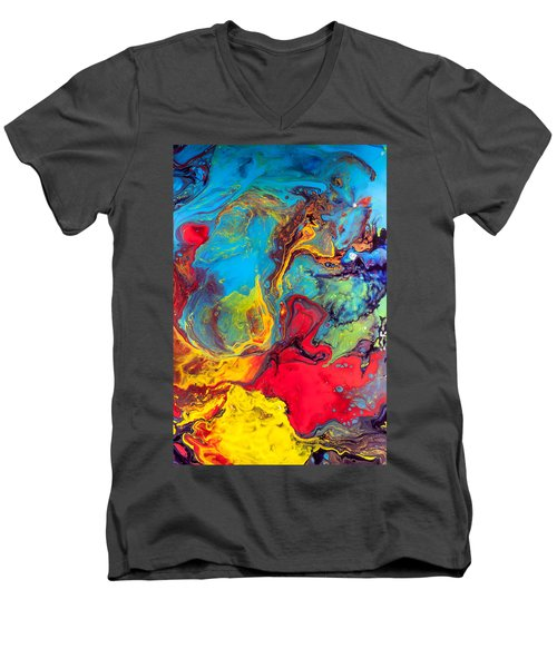 Wanderer - Abstract Colorful Mixed Media Painting Men's V-Neck T-Shirt by Modern Art Prints