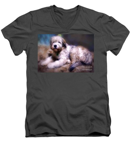 Men's V-Neck T-Shirt featuring the digital art Want A Best Friend by Kathy Tarochione