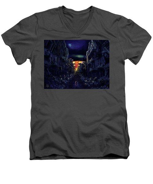 Men's V-Neck T-Shirt featuring the drawing War by Julia Art